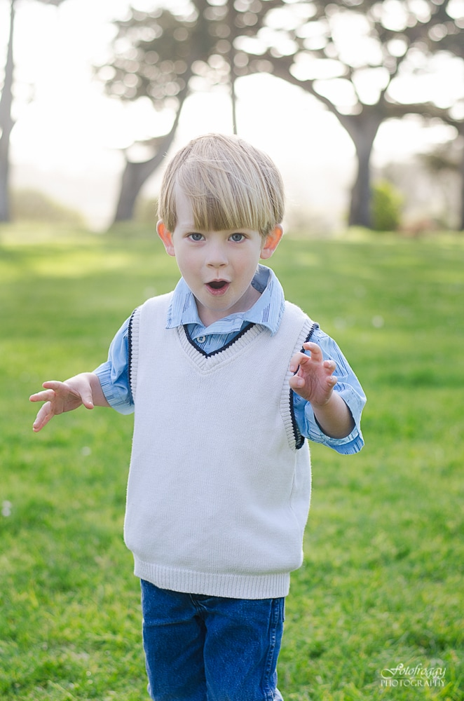 Cute little boy making silly faces. Monterey Bay Family Photographer