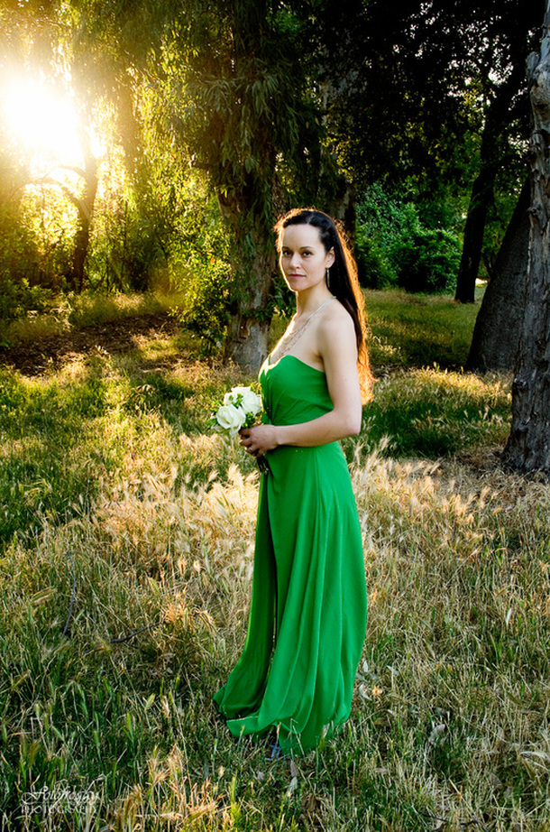 Gorgeous backlit bride in Kelly Green dress - Montery County Elopement photographer - Fotofroggy Photography