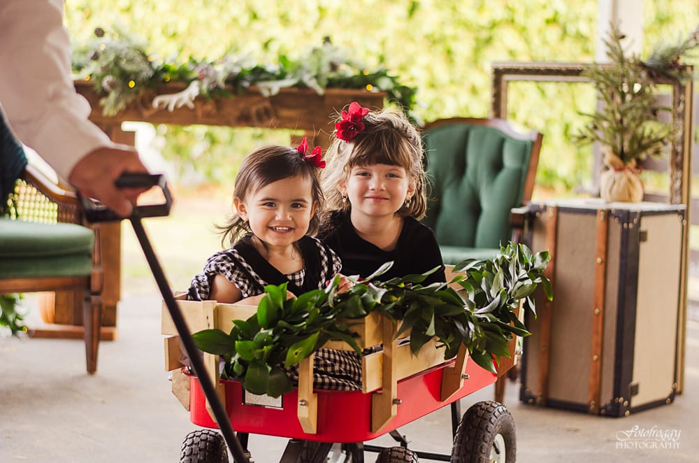 Sisters in a Christmas wagon - Monterey Photographer - www.fotofroggy.com