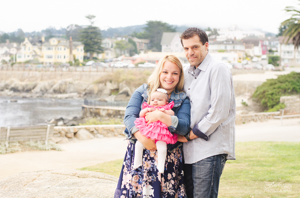 Adorable family of 3 portrait in Pacific Grove Lover's Point Ca photography