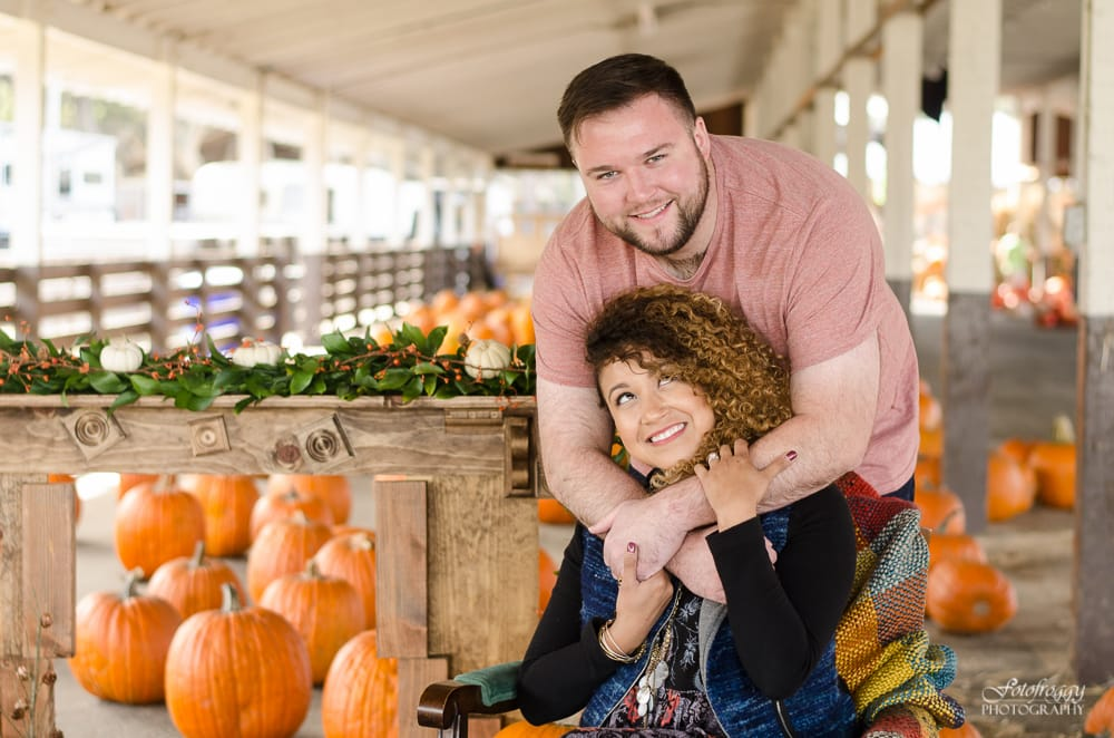 Couple's portrait at Cardinale & Wright pumpkin patch in Monterey - www.fotofroggy.com