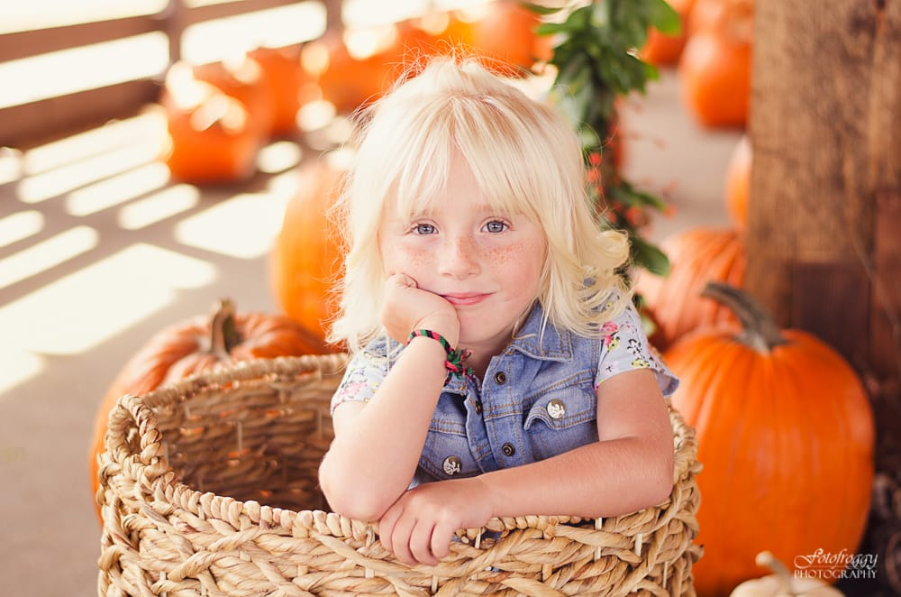 Little blonde girl sitting in a basket at Monterey Pumpkin Patch - www.fotofroggy.com