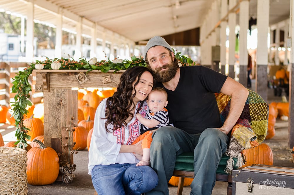 Adorable family of 3 at Monterey Pumpkin Patch - www.fotofroggy.com