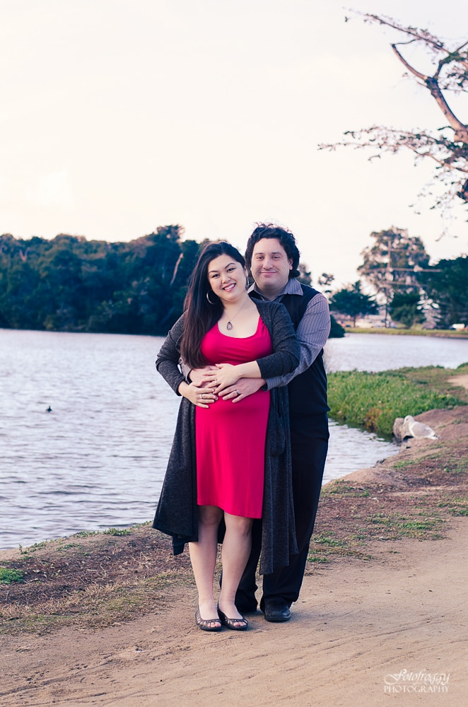 Lakeside couple's portrait, bright pink dress. Fotofroggy Photography