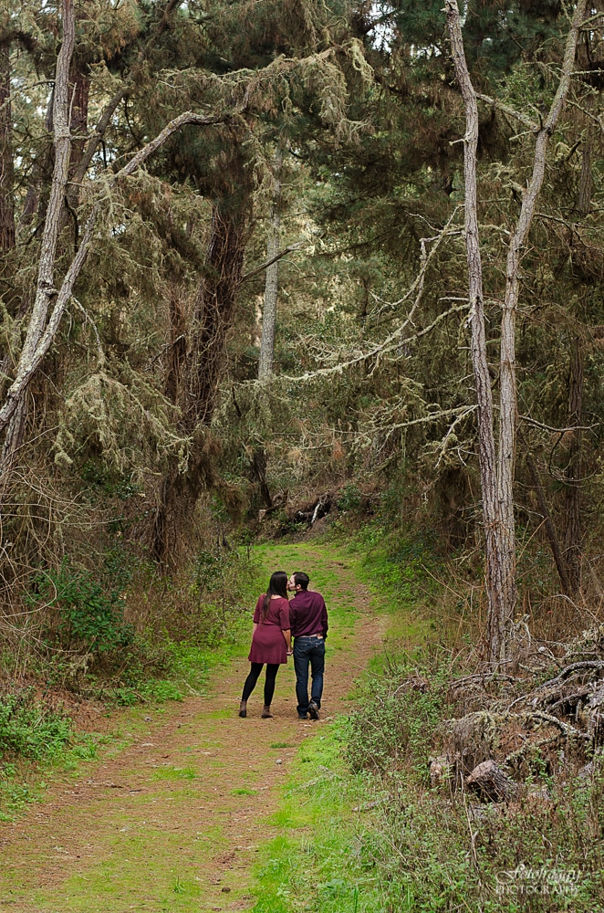 Monterey Forest Kissing Engagement Photos - www.fotofroggy.com